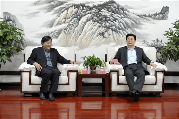 朱是西会见省测绘地理信息局局长刘济宝一行